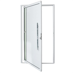 Porta Pivotante Direita com Lambri E Puxador em Alumínio Visione 210x120cm Branca - Brimak