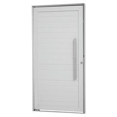 Porta Pivotante Direita com Lambri Horizontal E Puxador Alumifort 216x100cm Branca - Sasazaki