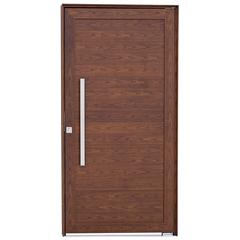 Porta Pivotante Direita com Lambri Horizontal E Puxador Alumifort 216x100cm Madeira - Sasazaki