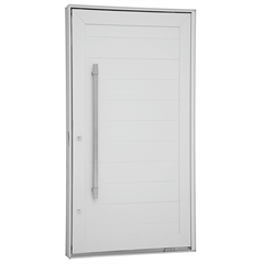 Porta Pivotante Direita com Lambri Horizontal E Puxador Aluminium 243,5x146,2cm Branca - Sasazaki