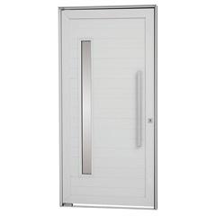 Porta Pivotante Direita com Lambri Horizontal, Vidro E Puxador Alumifort 216x100cm Branca - Sasazaki