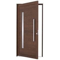 Porta Pivotante Direita com Lambri Horizontal, Vidro E Puxador Alumifort 216x110cm Madeira - Sasazaki
