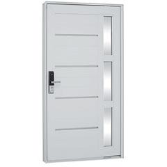 Porta Pivotante Direita com Vidro, Lambri E Fechadura Biométrica Aluminium 223,5x126,2cm Branca - Sasazaki