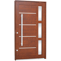 Porta Pivotante Direita com Vidro, Lambri Horizontal E Puxador Aluminium 223,5x126,2cm Madeira - Sasazaki