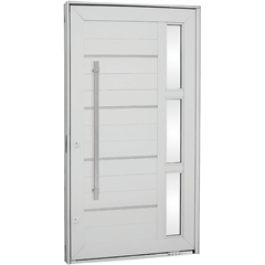 Porta Pivotante Direita com Vidro, Lambri Horizontal E Puxador Aluminium 243,5x146,2cm Branca - Sasazaki