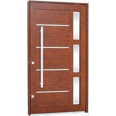 Porta Pivotante Direita com Vidro, Lambri Horizontal E Puxador Aluminium 243,5x146,2cm Madeira - Sasazaki