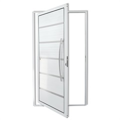 Porta Pivotante Direita em Alumínio Premium Super-25 210x100cm Branca - Brimak