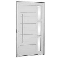 Porta Pivotante Direita Lambris Horizontais com Friso Aluminium 223,5x126,2cm Branca - Sasazaki