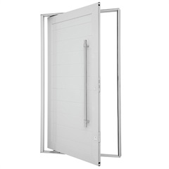 Porta Pivotante Direita Lambris Horizontais com Puxador 223x126cm Branca - Sasazaki