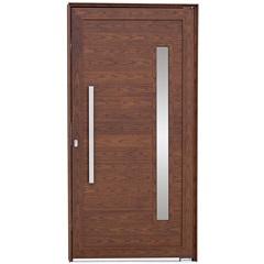 Porta Pivotante Direita Vidro Puxador 216x100cm Mogno - Sasazaki