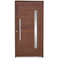 Porta Pivotante Direita Vidro Puxador 216x110cm Mogno - Sasazaki