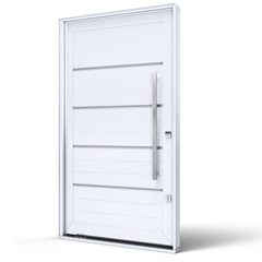Porta Pivotante Esquerda com Friso E Puxador Eccellente 225x130cm Branca