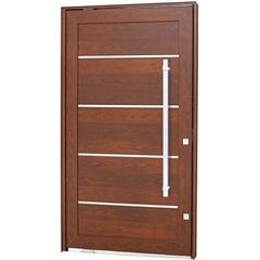 Porta Pivotante Esquerda com Friso, Lambri Horizontal E Puxador Aluminium 223,5x126,2cm Madeira - Sasazaki