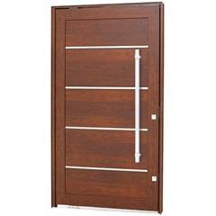 Porta Pivotante Esquerda com Friso, Lambri Horizontal E Puxador Aluminium 243,5x146,2cm Madeira - Sasazaki