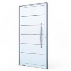 Porta Pivotante Esquerda com Lambri E Puxador E com Friso em Alumínio 215x105cm Branca - Lucasa