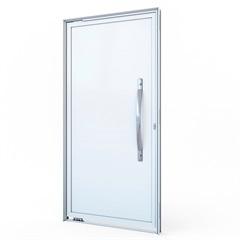 Porta Pivotante Esquerda com Lambri E Puxador E sem Friso Alumínio 215x105cm Branca - Lucasa