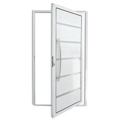 Porta Pivotante Esquerda com Lambri E Puxador em Alumínio Premium 210x100cm Branca - Brimak
