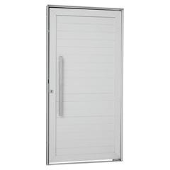 Porta Pivotante Esquerda com Lambri Horizontal E Puxador Alumifort 216x110cm Branca - Sasazaki