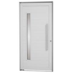 Porta Pivotante Esquerda com Lambri Horizontal, Vidro E Puxador Alumifort 216x100cm Branca - Sasazaki
