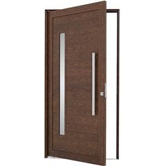 Porta Pivotante Esquerda com Lambri Horizontal, Vidro E Puxador Alumifort 216x100cm Madeira - Sasazaki