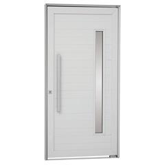 Porta Pivotante Esquerda com Lambri Horizontal, Vidro E Puxador Alumifort 216x110cm Branca - Sasazaki