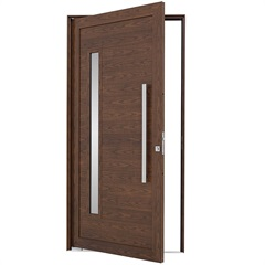 Porta Pivotante Esquerda com Lambri Horizontal, Vidro E Puxador Alumifort 216x110cm Madeira - Sasazaki