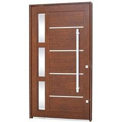 Porta Pivotante Esquerda com Vidro, Lambri Horizontal E Puxador Aluminium 223,5x126,2cm Madeira - Sasazaki