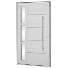 Porta Pivotante Esquerda com Vidro, Lambri Horizontal E Puxador Aluminium 243,5x146,2cm Branca - Sasazaki