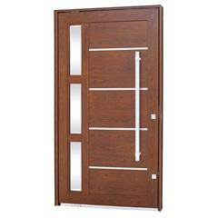 Porta Pivotante Esquerda com Vidro, Lambri Horizontal E Puxador Aluminium 243,5x146,2cm Madeira - Sasazaki