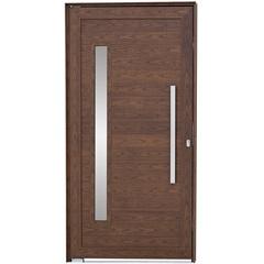 Porta Pivotante Esquerda Vidro Puxador 216x100cm Mogno - Sasazaki
