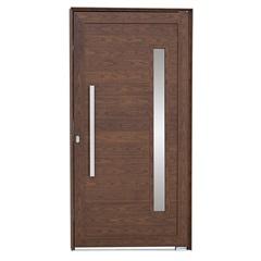 Porta Pivotante Esquerda Vidro Puxador 216x110cm Mogno - Sasazaki