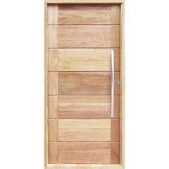 Porta Pivotante Maciça Montada Esquerda com Frisos Cedro Arana 210x100cm - Sidney Esquadrias