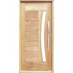 Porta Pivotante Maciça Montada Esquerda com Vidro Cedro Arana 210x100cm - Sidney Esquadrias