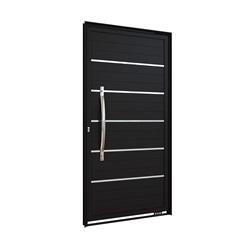 Porta Pivotante Preto Brilhante com Friso E Puxador Direta 215x105x8cm - Lucasa