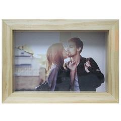 Porta Retrato em Madeira Caixa Liso 10x15cm Cerejeira - Casa Etna