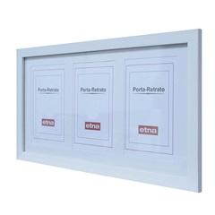 Porta Retrato em Madeira Multifoto Basic Branco para 3 Fotos - Casa Etna