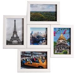 Porta Retrato em Madeira Multifoto Branco 5 Fotos - Casa Etna