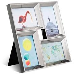 Porta Retrato em Plástico Multi 4 35x36cm Prata - Casa Etna