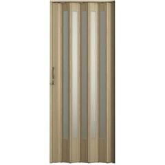 Porta Sanfonada Plus Translúcida com Puxador E Trinco 210x72cm Carvalho Prata - BCF