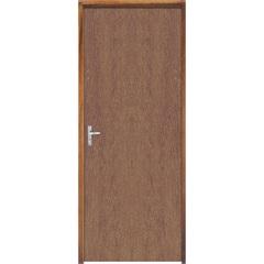 Porta Semi Oca Montada Direita Imbuia Lisa 210x62cm com Batente de 9cm Natural - Sidney Esquadrias
