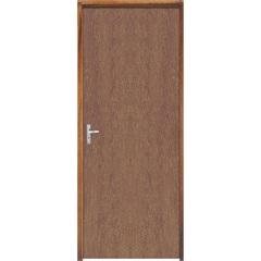 Porta Semi Oca Montada Direita Imbuia Lisa 210x82cm com Batente de 9cm Natural