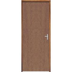 Porta Semi Oca Montada Esquerda Imbuia Lisa 210x62cm com Batente de 9cm Natural - Sidney Esquadrias