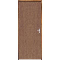 Porta Semi Oca Montada Esquerda Imbuia Lisa 210x72cm com Batente de 9cm Natural