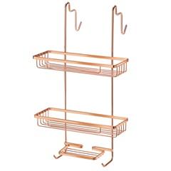 Porta Shampoo Duplo em Aço para Box Rosé Gold - Arthi