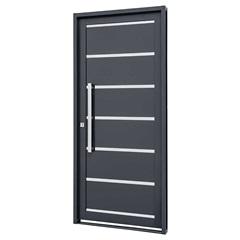 Porta Social Direita com Friso E Lambri Horizontal Silenfort 217x98cm Cinza - Sasazaki