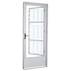 Porta Social Direita com Grade Quadriculada E Postigo Prátika 217x87cm Branca - Sasazaki
