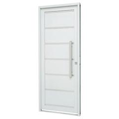 Porta Social Esquerda com Friso E Lambri Horizontal Prátika 217x98cm Branca - Sasazaki