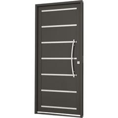 Porta Social Esquerda com Friso E Lambri Horizontal Silenfort 217x88cm Cinza - Sasazaki