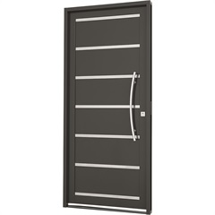 Porta Social Esquerda com Friso E Lambri Horizontal Silenfort 217x98cm Cinza - Sasazaki