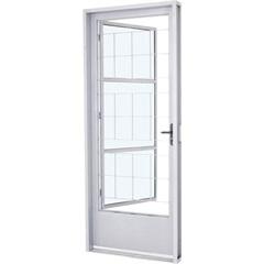 Porta Social Esquerda com Grade Quadriculada E Postigo Prátika 217x87cm Branca - Sasazaki